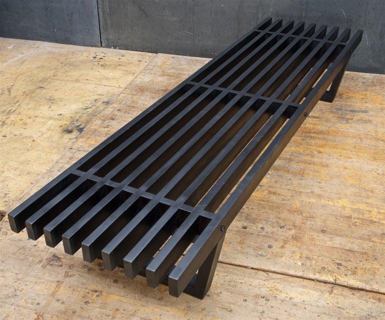 Studio Craft Low Black Slat Bench Coffee Table Window Platform Plant Stand For Sale Stdibs