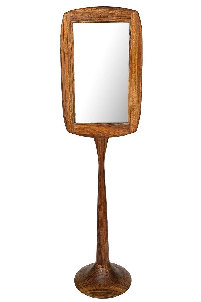 Hand Carved Studio Craft Movement Zebrawood Standing Floor Mirror For