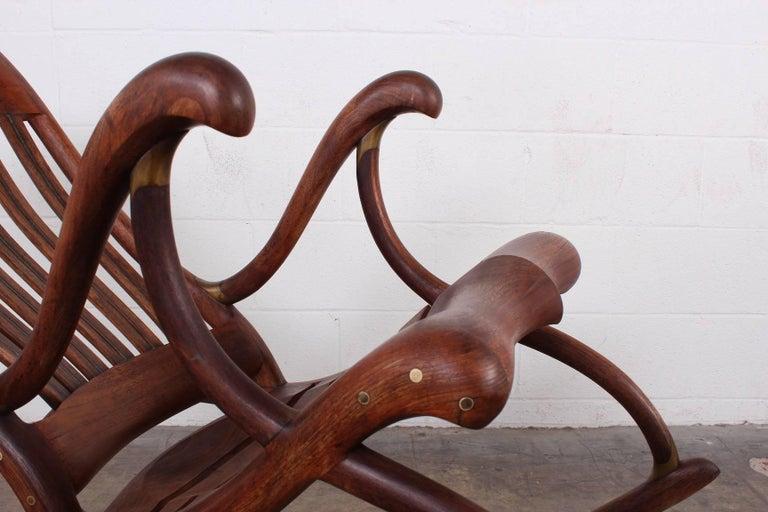 Walnut Studio Craft Rocking Chair by David Crawford For Sale