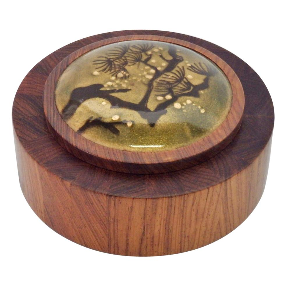 Studio Craft Turned Rosewood Box with Enamel Lid