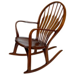 Studio Craft Walnut Rocking Chair by Steven Foley, circa 1978