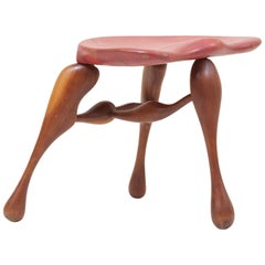 Studio Craft Wooden Stool by Ron Curtis, US, 1980