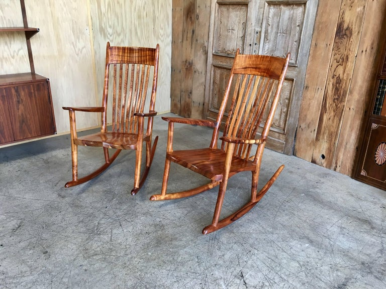 Awe Inspiring Studio Crafted Koa Wood Rocking Chairs By Stan Gollaher At Machost Co Dining Chair Design Ideas Machostcouk