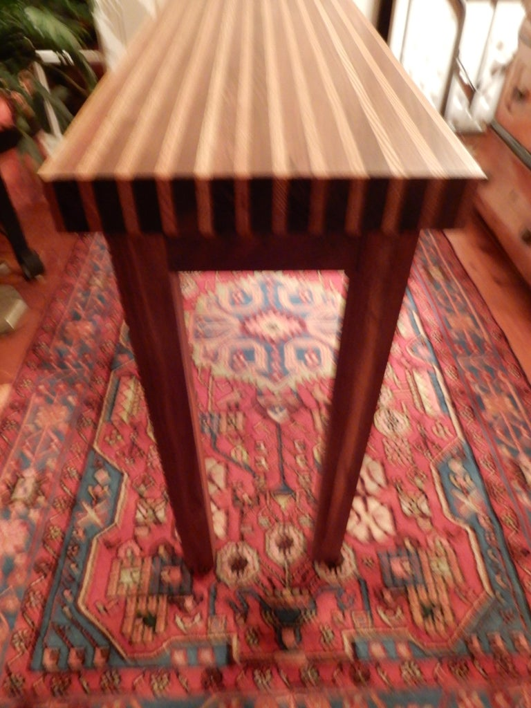 Studio crafted oak and black walnut woods console table. Beautifully inlaid in solid woods (no veneers).
