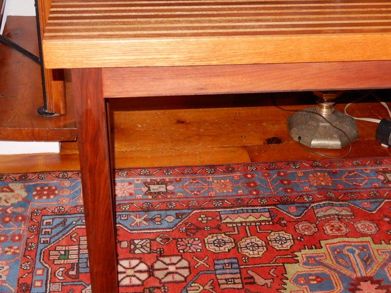 American Craftsman Studio Crafted Oak and Black Walnut Woods Console Table, 1978 For Sale