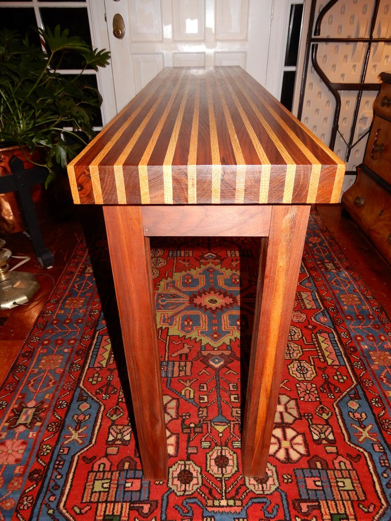 Hand-Carved Studio Crafted Oak and Black Walnut Woods Console Table, 1978 For Sale