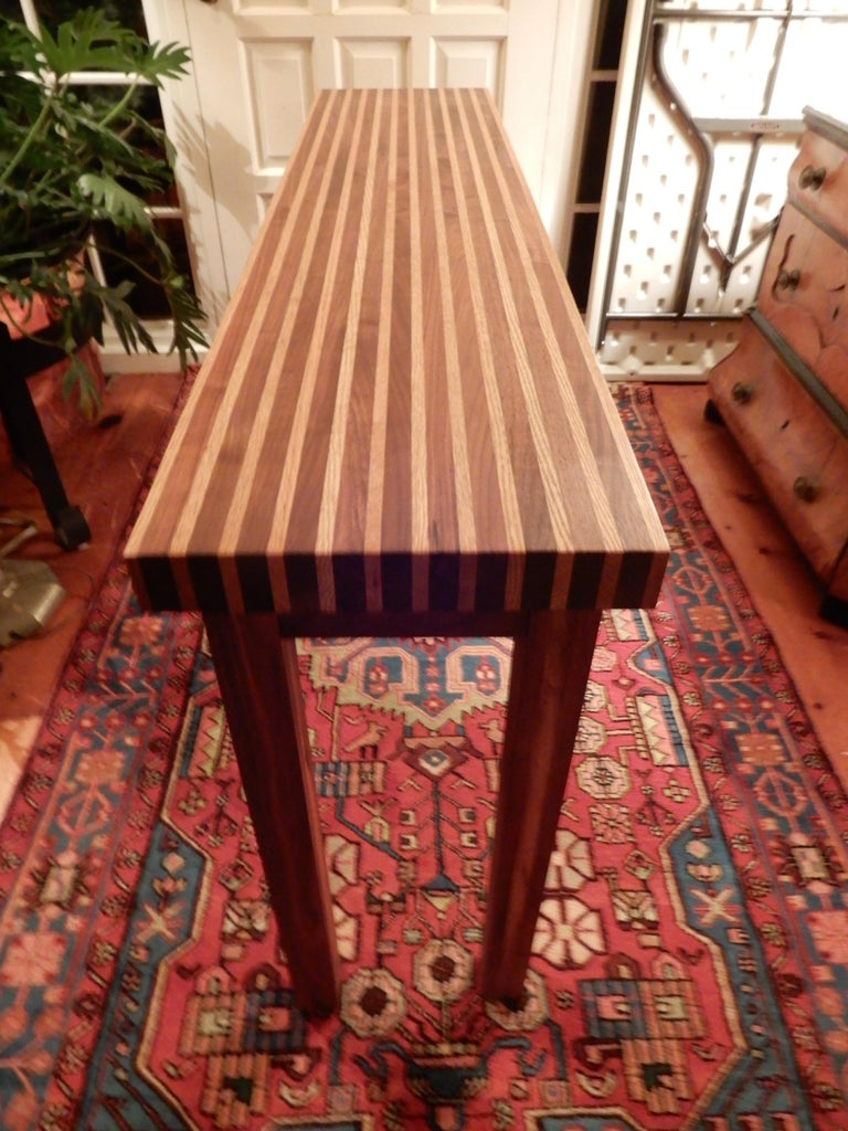 Studio Crafted Oak and Black Walnut Woods Console Table, 1978 In Excellent Condition For Sale In Bellport, NY
