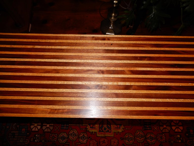20th Century Studio Crafted Oak and Black Walnut Woods Console Table, 1978 For Sale