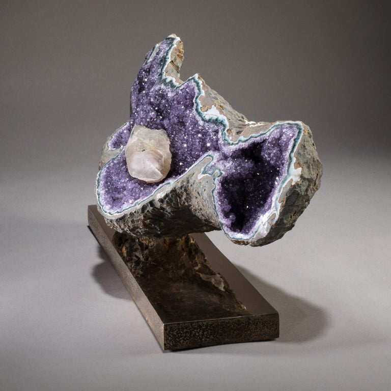 Studio Greytak 'Amethyst on Bronze Base' Purple Amethyst Crystals & Solid Bronze In New Condition For Sale In Missoula, MT