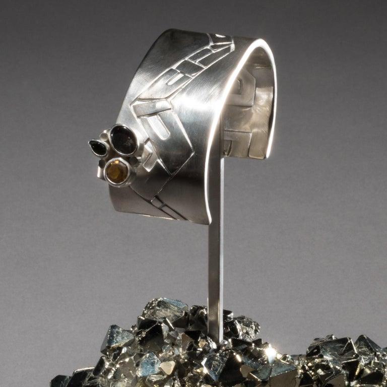 Studio Greytak 'Ammolite Cuff on Pyrite' Fire Opal, Tourmaline, Citrine & Jasper For Sale 4