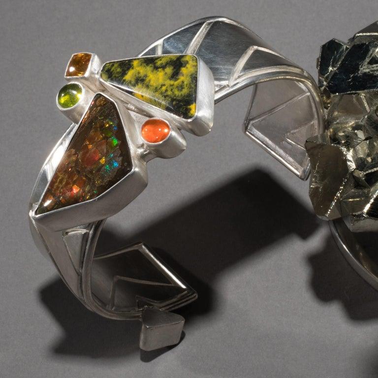 Modern Studio Greytak 'Ammolite Cuff on Pyrite' Fire Opal, Tourmaline, Citrine & Jasper For Sale