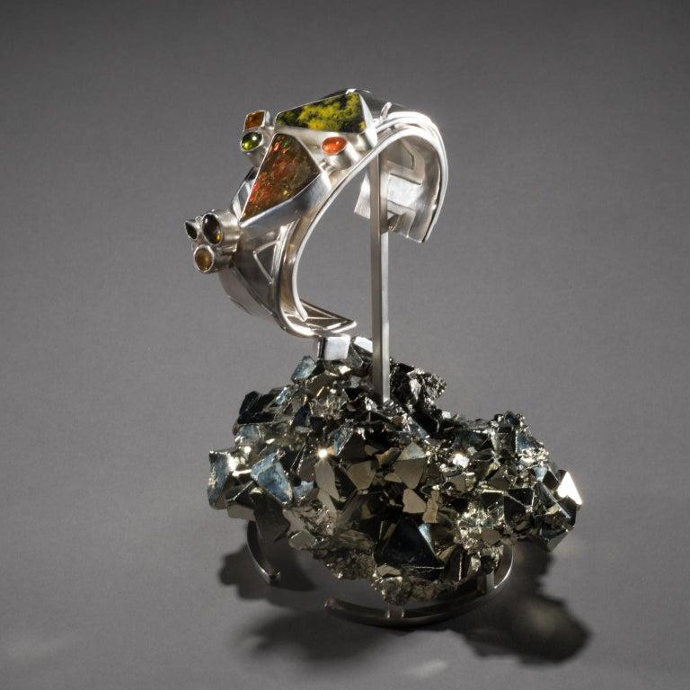 American Studio Greytak 'Ammolite Cuff on Pyrite' Fire Opal, Tourmaline, Citrine & Jasper For Sale
