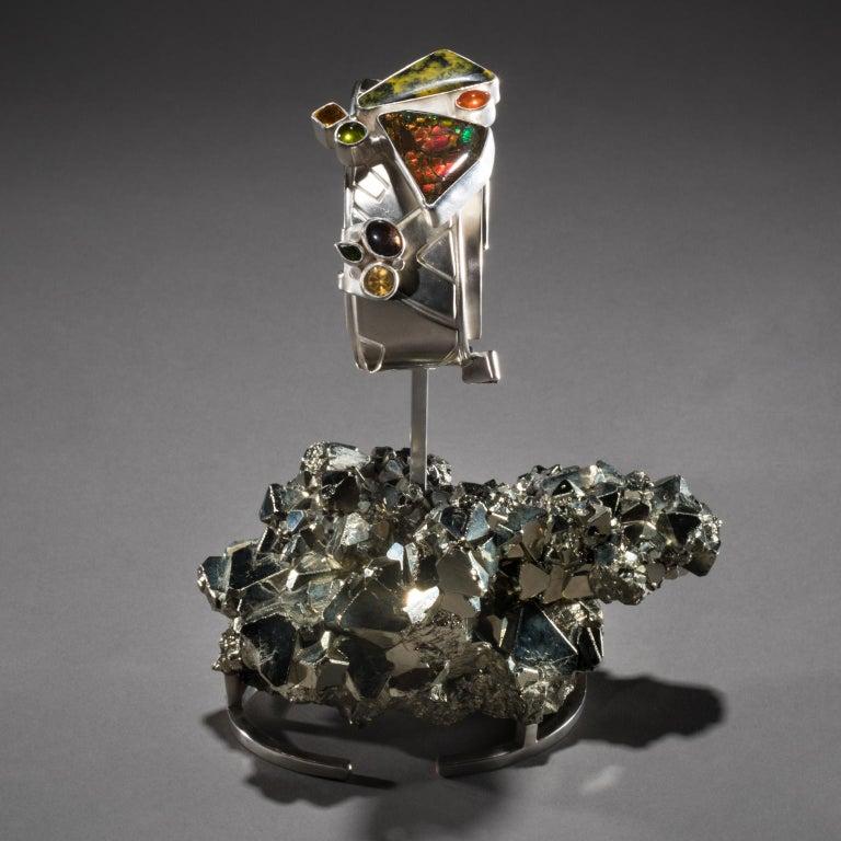 Studio Greytak 'Ammolite Cuff on Pyrite' Fire Opal, Tourmaline, Citrine & Jasper In New Condition For Sale In Missoula, MT