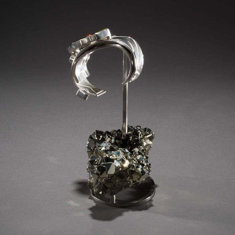 Contemporary Studio Greytak 'Ammolite Cuff on Pyrite' Fire Opal, Tourmaline, Citrine & Jasper For Sale