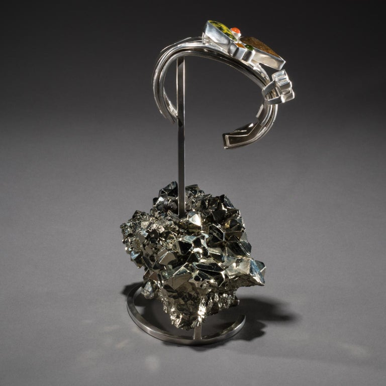 Silver Studio Greytak 'Ammolite Cuff on Pyrite' Fire Opal, Tourmaline, Citrine & Jasper For Sale