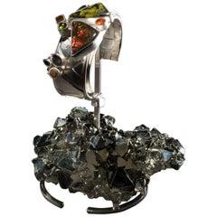 Studio Greytak 'Ammolite Cuff on Pyrite' Fire Opal, Tourmaline, Citrine & Jasper