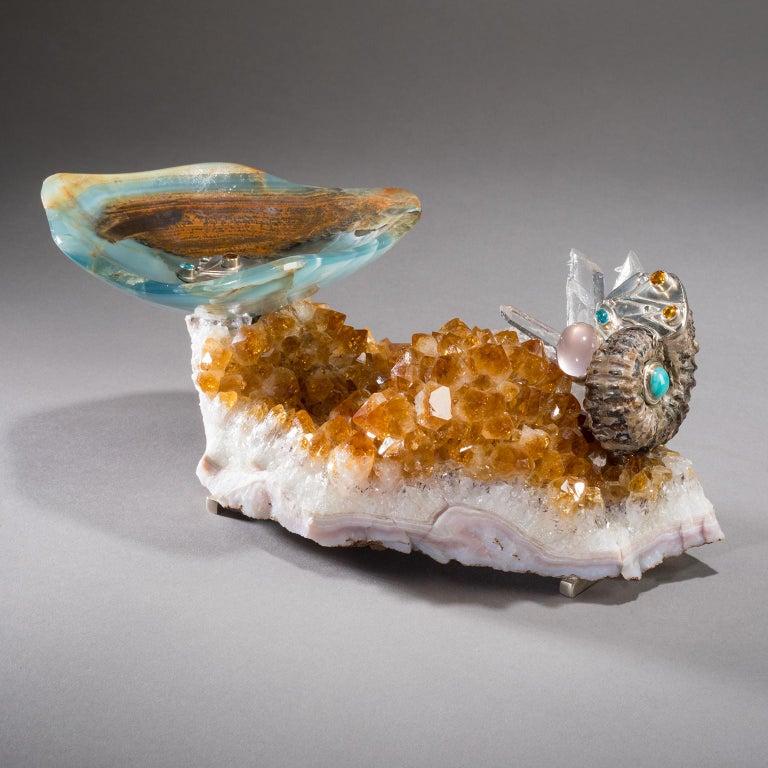 Studio Greytak 'Bling Bowl 5' Rose Quartz, Citrine, Blue Calcite and Ammonite For Sale 4
