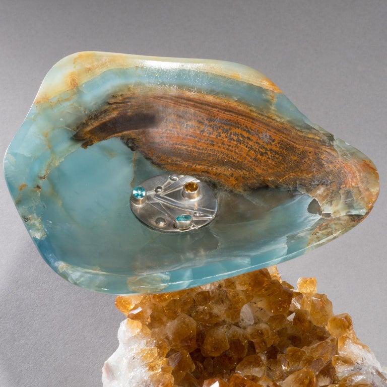 Modern Studio Greytak 'Bling Bowl 5' Rose Quartz, Citrine, Blue Calcite and Ammonite For Sale