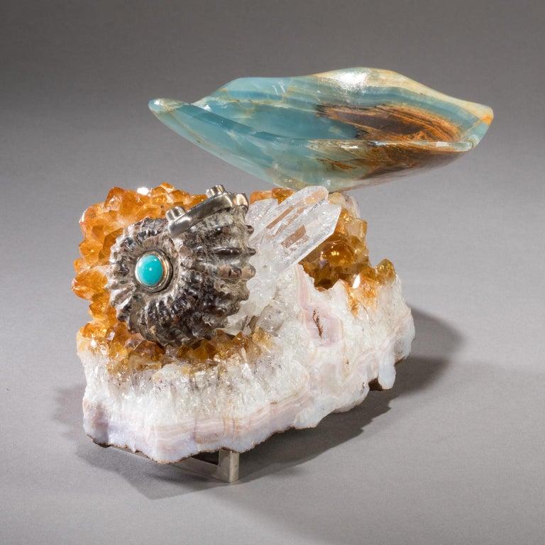 American Studio Greytak 'Bling Bowl 5' Rose Quartz, Citrine, Blue Calcite and Ammonite For Sale