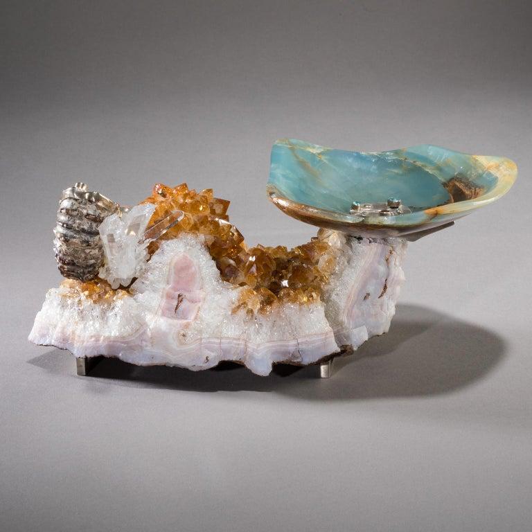 Studio Greytak 'Bling Bowl 5' Rose Quartz, Citrine, Blue Calcite and Ammonite In New Condition For Sale In Missoula, MT
