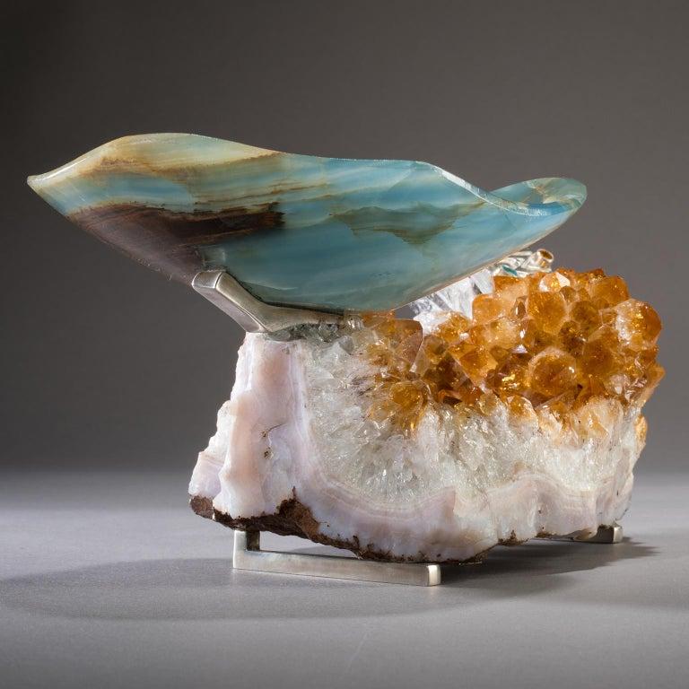 Contemporary Studio Greytak 'Bling Bowl 5' Rose Quartz, Citrine, Blue Calcite and Ammonite For Sale