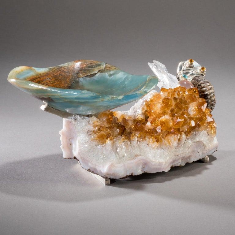 Studio Greytak 'Bling Bowl 5' Rose Quartz, Citrine, Blue Calcite and Ammonite For Sale 1
