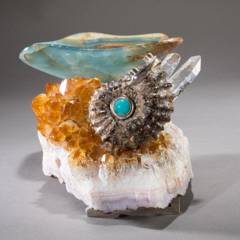 Studio Greytak 'Bling Bowl 5' Rose Quartz, Citrine, Blue Calcite and Ammonite For Sale 2