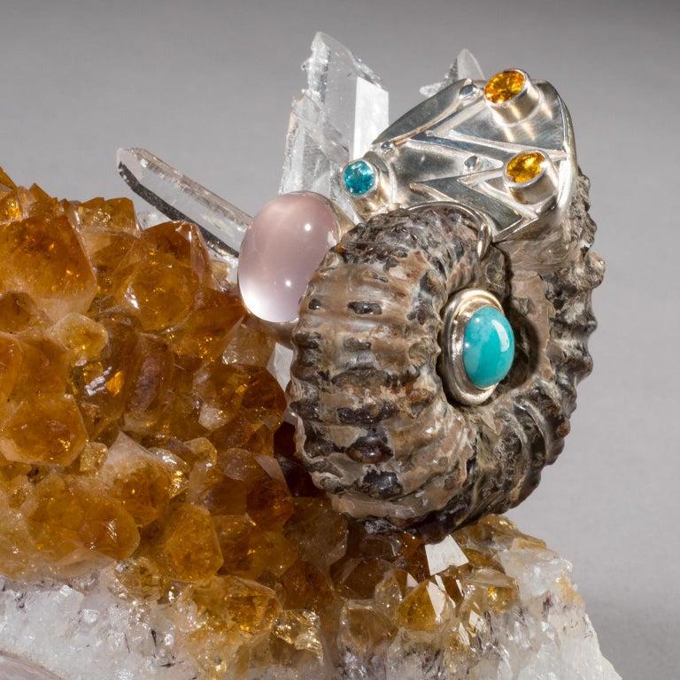 Studio Greytak 'Bling Bowl 5' Rose Quartz, Citrine, Blue Calcite and Ammonite For Sale 3