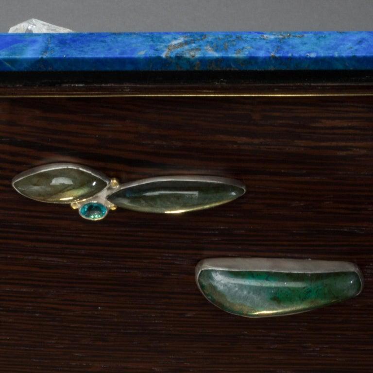 Studio Greytak 'Bling Box 3' Lapis Lazuli, Wenge, Malachite, Decorative Box In New Condition For Sale In Missoula, MT