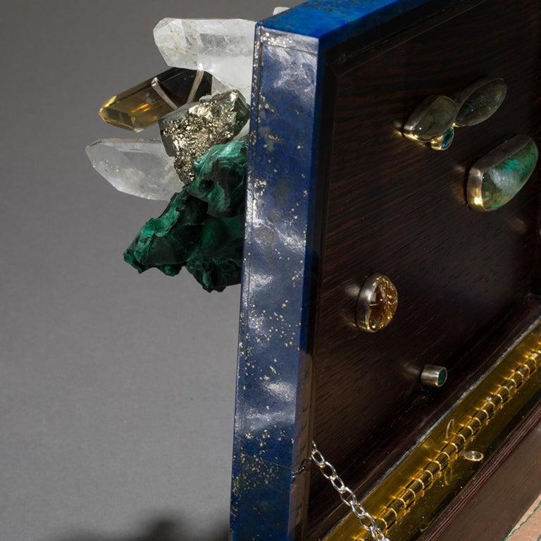 Studio Greytak 'Bling Box 3' Lapis Lazuli, Wenge, Malachite, Decorative Box For Sale 1