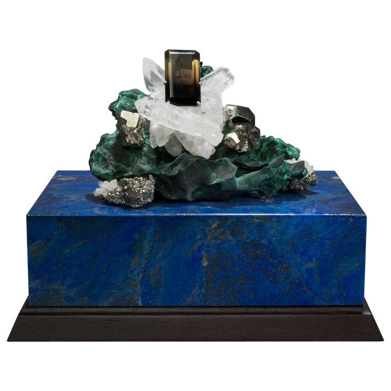 Studio Greytak 'Bling Box 3' Lapis Lazuli, Wenge, Malachite, Decorative Box For Sale