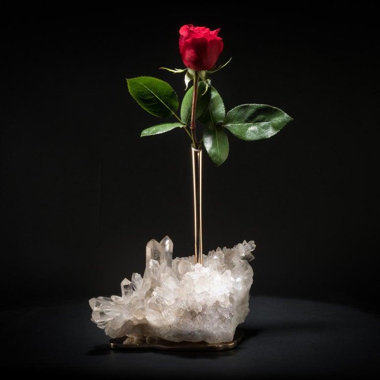 Studio Greytak 'Bud Vase on Himalayan Quartz' Bronze, Clear Quartz & White Rose In New Condition For Sale In Missoula, MT
