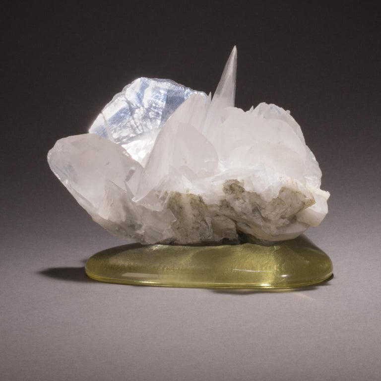 Studio Greytak 'Calcite on Cast Glass Base' White & Clear Calcite & Yellow Glass For Sale 4