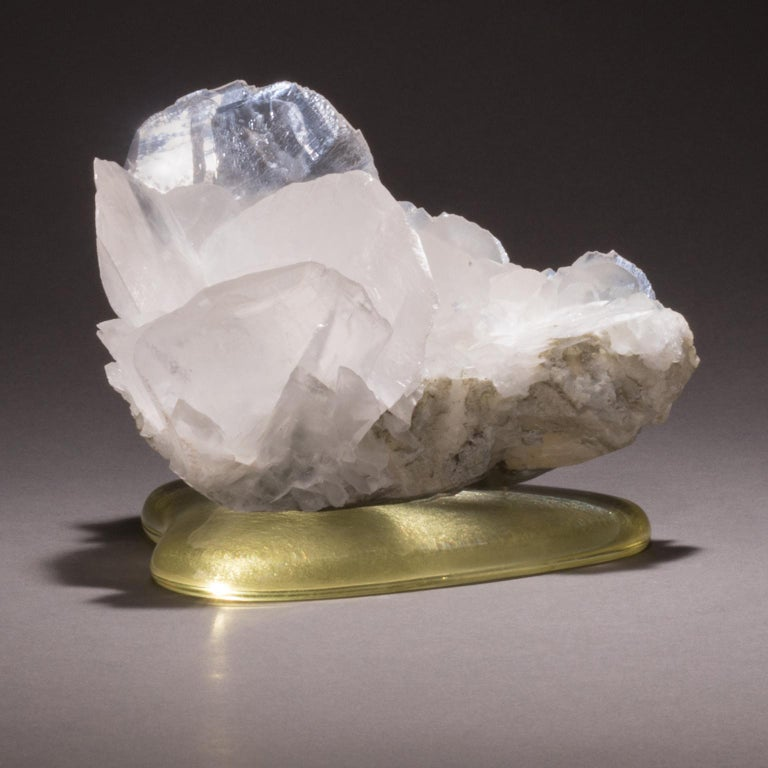 Modern Studio Greytak 'Calcite on Cast Glass Base' White & Clear Calcite & Yellow Glass For Sale