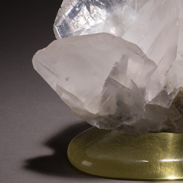 American Studio Greytak 'Calcite on Cast Glass Base' White & Clear Calcite & Yellow Glass For Sale