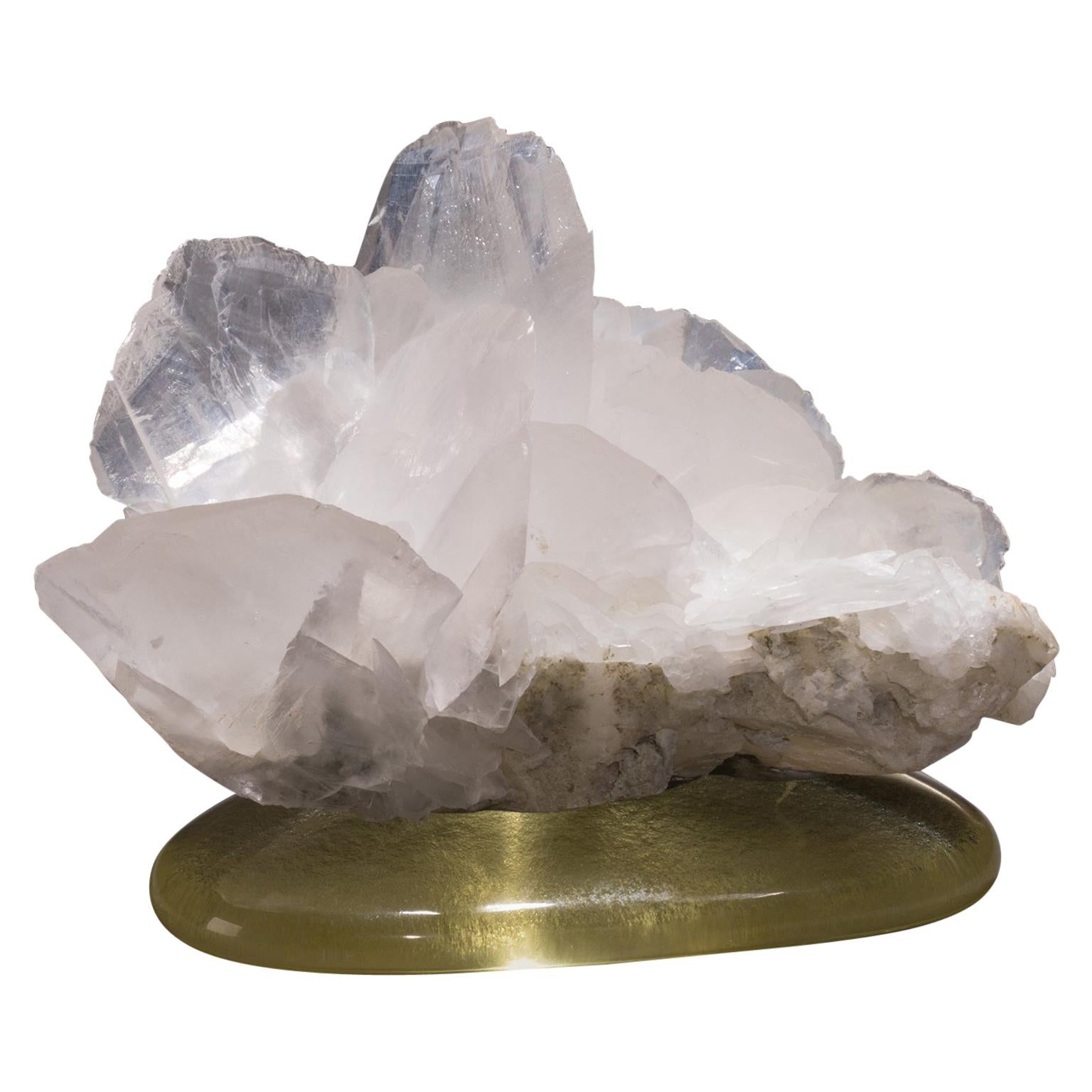 Studio Greytak 'Calcite on Cast Glass Base' White & Clear Calcite & Yellow Glass
