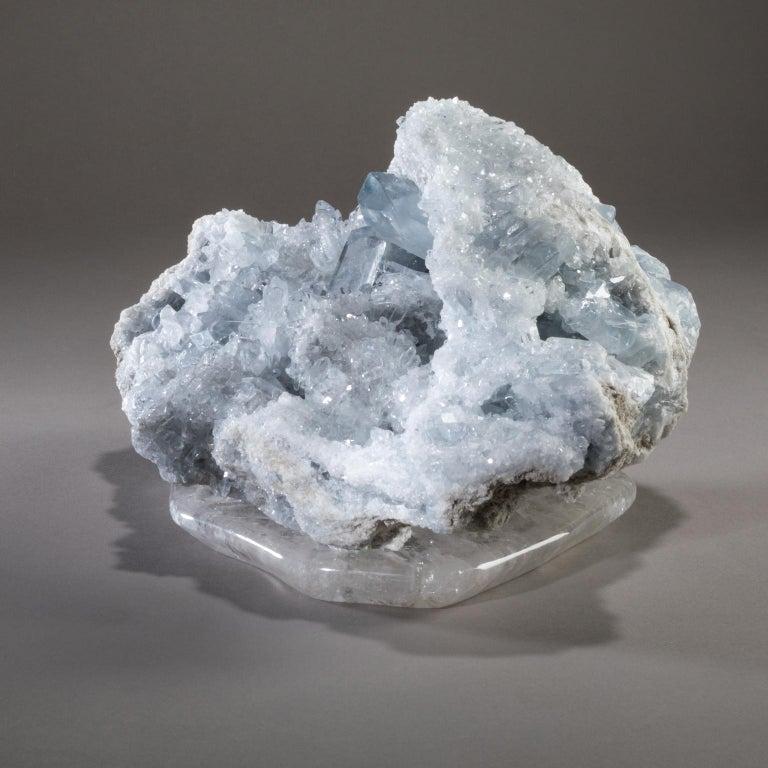 Hand-Carved Studio Greytak 'Celestite on Crystal Base' Blue Celestite on Hand Carved Quartz For Sale