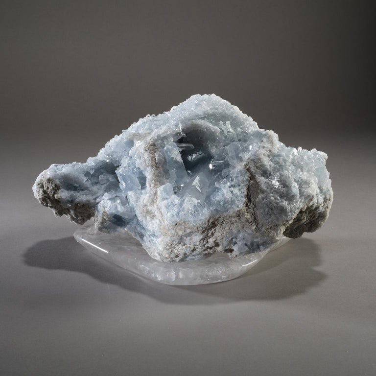 Contemporary Studio Greytak 'Celestite on Crystal Base' Blue Celestite on Hand Carved Quartz For Sale