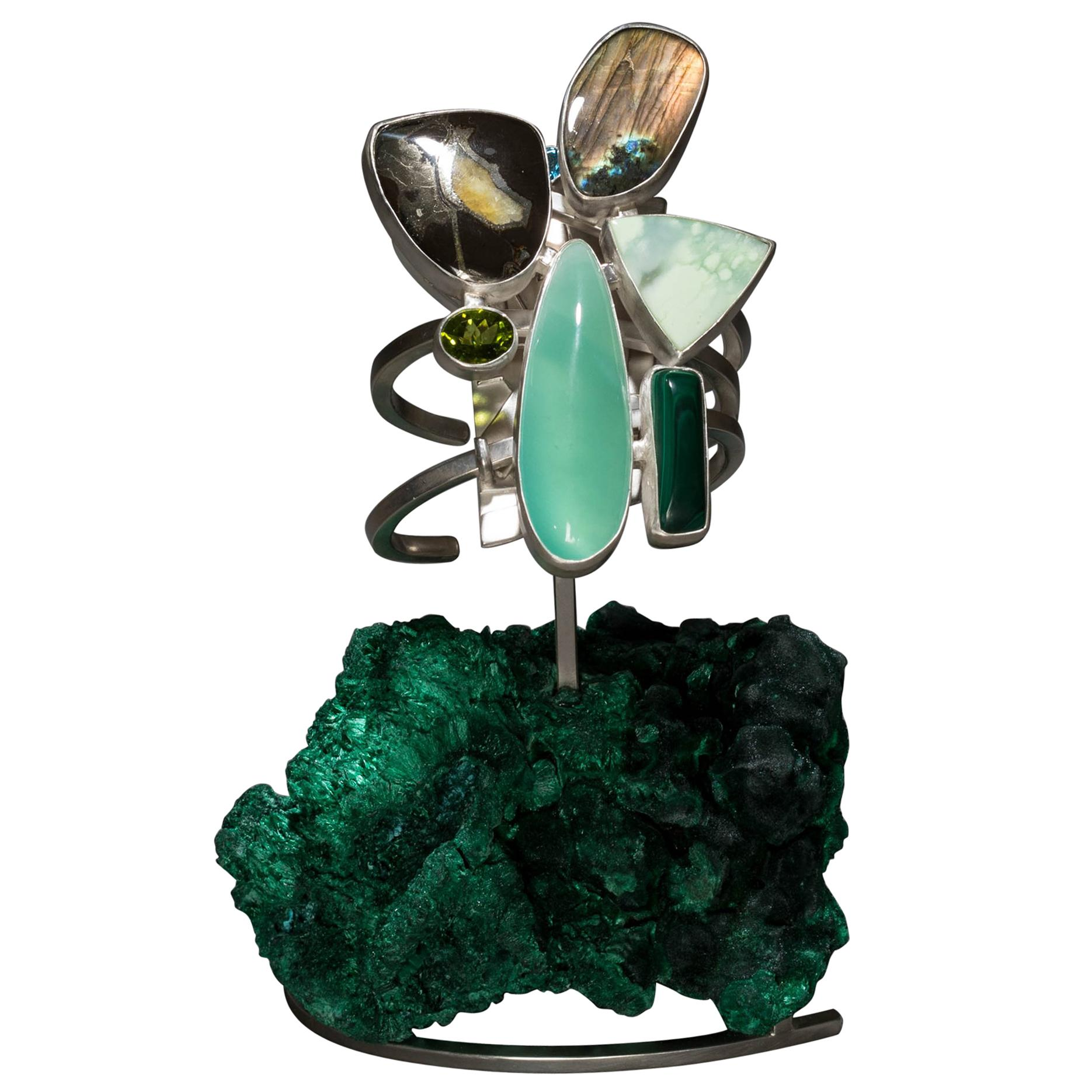 Studio Greytak 'Chrysoprase Bracelet on Malachite' with Ammolite & Labradorite