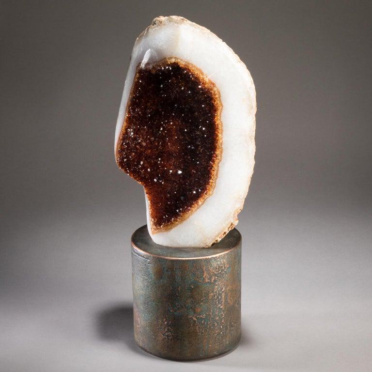 Modern Studio Greytak 'Citrine on Copper Base' Citrine Specimen on Solid Copper Art For Sale