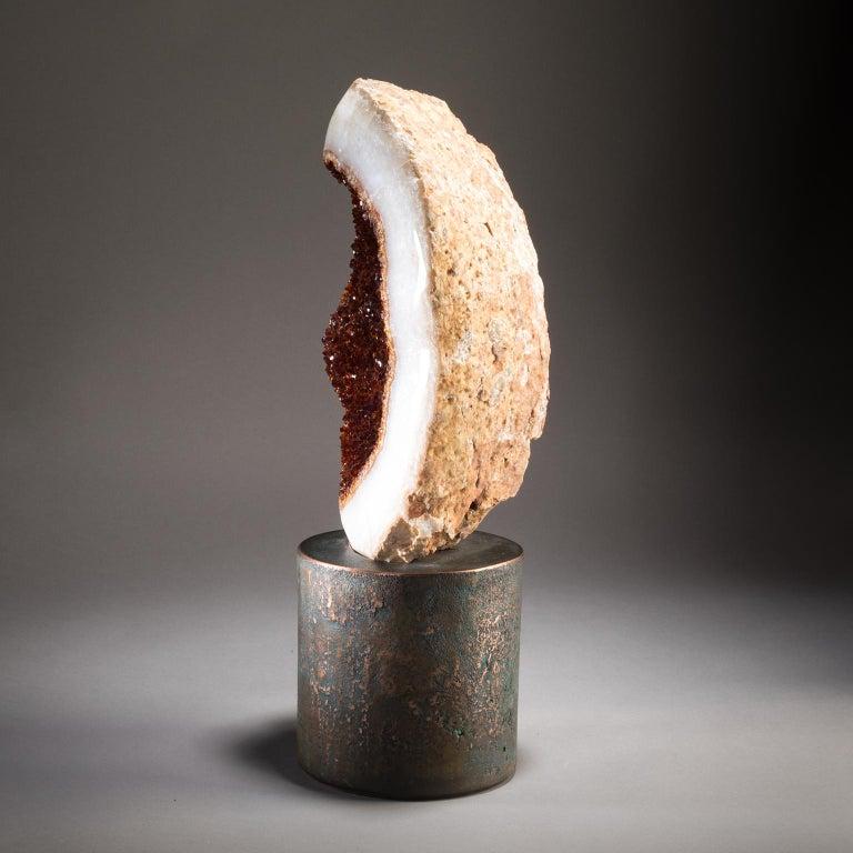 American Studio Greytak 'Citrine on Copper Base' Citrine Specimen on Solid Copper Art For Sale