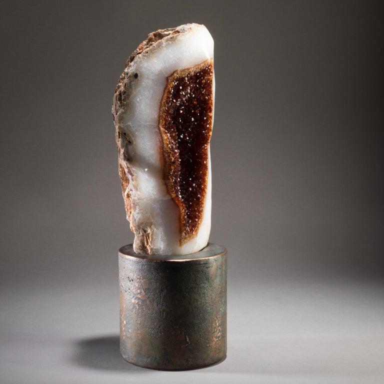 Contemporary Studio Greytak 'Citrine on Copper Base' Citrine Specimen on Solid Copper Art For Sale