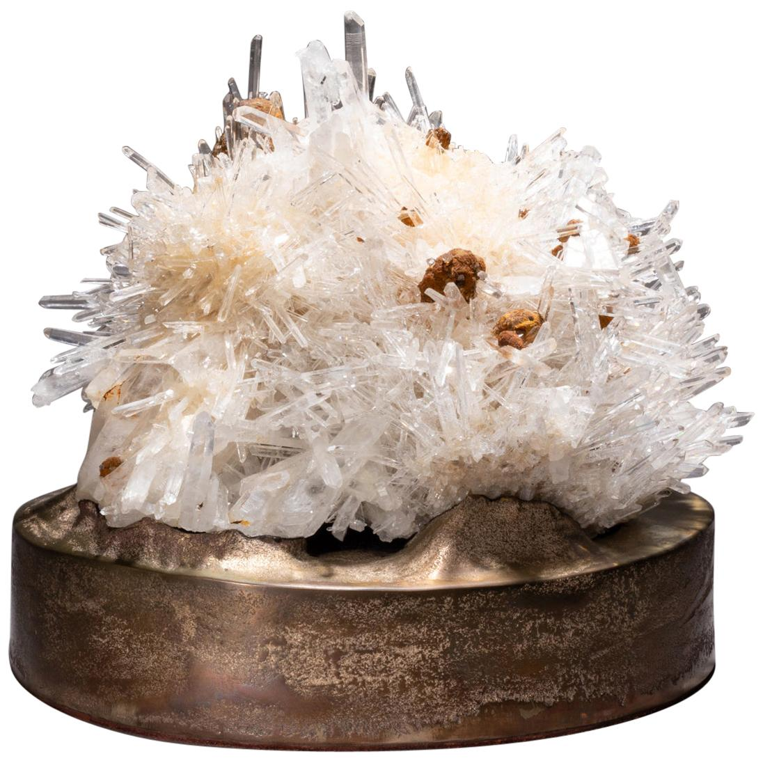 Studio Greytak 'Colombian Quartz on Cast Bronze' Clear Quartz & Bronze Pedestal