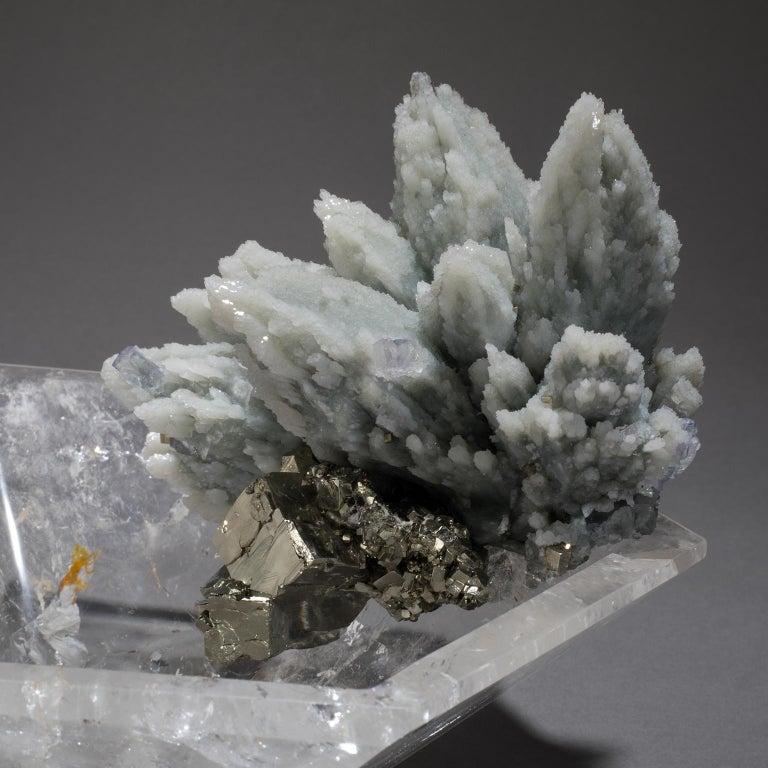 Studio Greytak 'Crystal Bling Bowl 11' Hand Carved Quartz, Blue Quartz, & Pyrite In New Condition For Sale In Missoula, MT