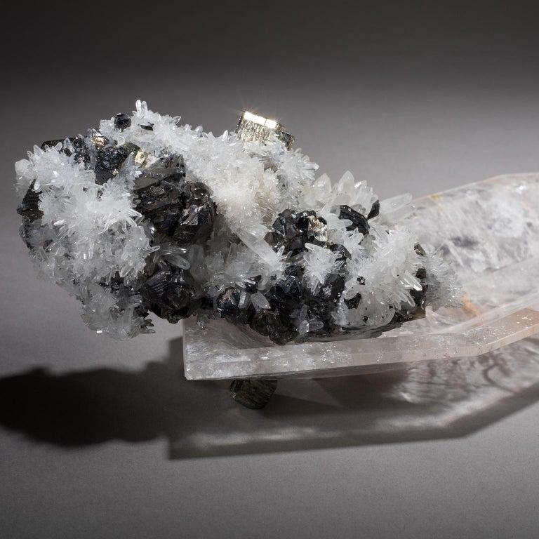 Modern Studio Greytak 'Crystal Bling Bowl 13' Quartz, Pyrite, Hand Carved Rock Crystal For Sale