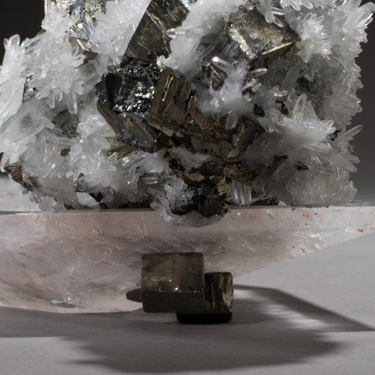 American Studio Greytak 'Crystal Bling Bowl 13' Quartz, Pyrite, Hand Carved Rock Crystal For Sale