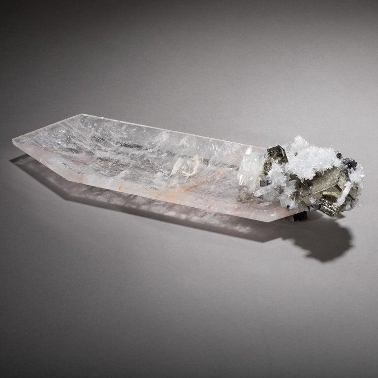 Studio Greytak 'Crystal Bling Bowl 13' Quartz, Pyrite, Hand Carved Rock Crystal For Sale 1