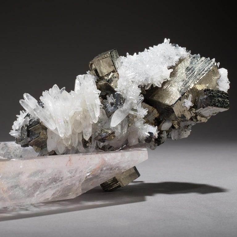 Studio Greytak 'Crystal Bling Bowl 13' Quartz, Pyrite, Hand Carved Rock Crystal For Sale 2