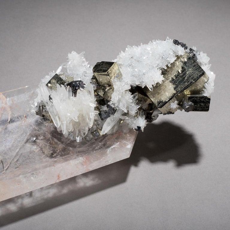 Studio Greytak 'Crystal Bling Bowl 13' Quartz, Pyrite, Hand Carved Rock Crystal For Sale 3