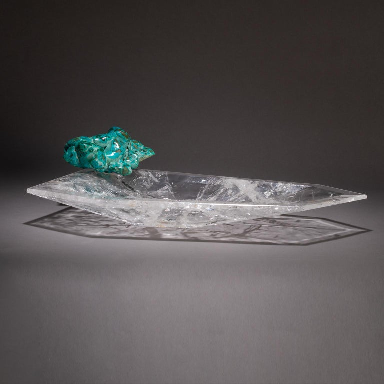 Crystal Bling Bowl 18  Let the stunning blue-green colors of chrysocolla conjure up thoughts of the oceans in Studio Greytak's Crystal Bling Bowl 18. It is thought chrysocolla carries the peaceful, soothing vibes of water while also being known as